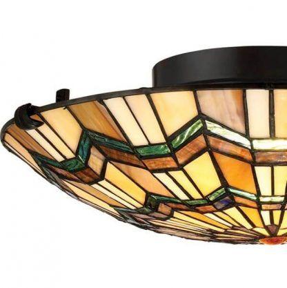 Okrągły klosz lampy ze szkła witrażowego do kuchni