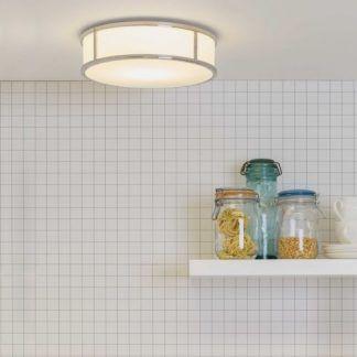 okragły plafon do kuchni w ramie srebrnej