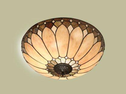 okrągły plafon witrażowy kwiat w ciepłych odcieniach