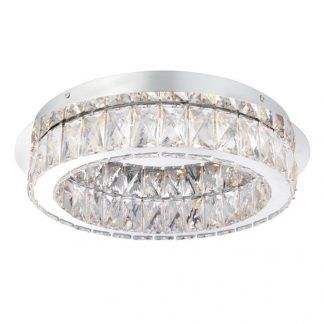 okrągły plafon z kryształkami srebrny