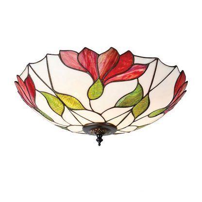 okrągły plafon z witrażowego szkła duże kwiaty