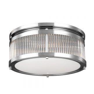 Okrągły srebrny plafon z mlecznym szkłem do łazienki