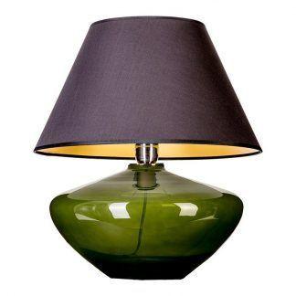 oliwkowa lampa stołowa szklana z abażurem czarnym