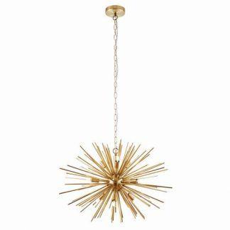 orta złota lampa wisząca sputnik promienie
