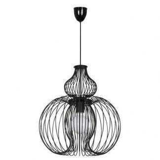 oryginalna lampa wisząca czarny druciany klosz