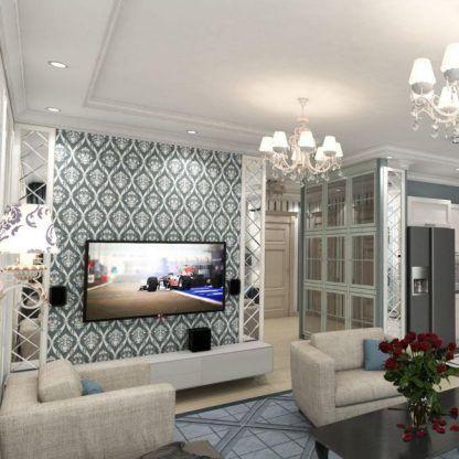 oświetlenie glamour w salonie kryształy aranżacja