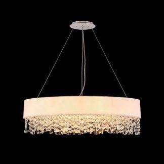 owalna lampa wisząca nad stół biały abażur glamour