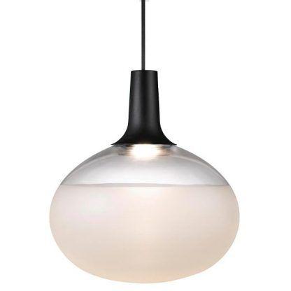 owalna lampa wisząca z matowego szkła