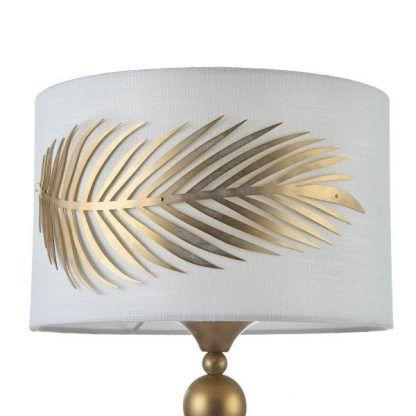 ozdobiony wzorem złotego liścia biały abażur
