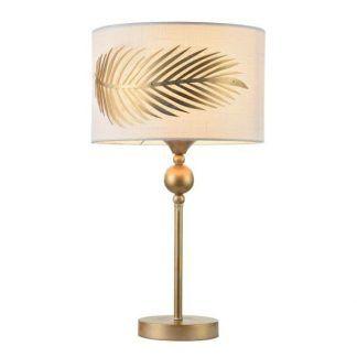 ozdobna lampa stołowa na złotej nóżce