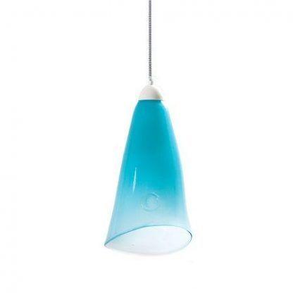 pastelowa niebieska lampa wisząca ze szkła