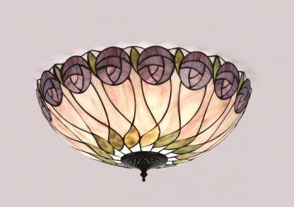 pastelowy plafon witrażowy w fioletowe kwiaty