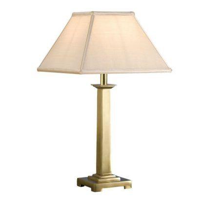 pelham lampa stołowa mosiądz z beżowym abażurem