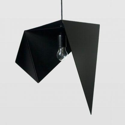 piękna czarna lampa wisząca z blachy - dekoracyjna