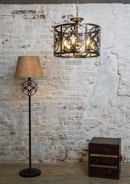 piękna klasyczna i elegancka lampa ze stali - rustykalna