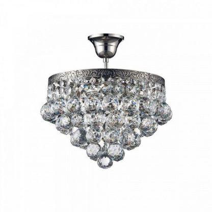 piękna kryształowa lampa sufitowa glamour do salonu w bloku