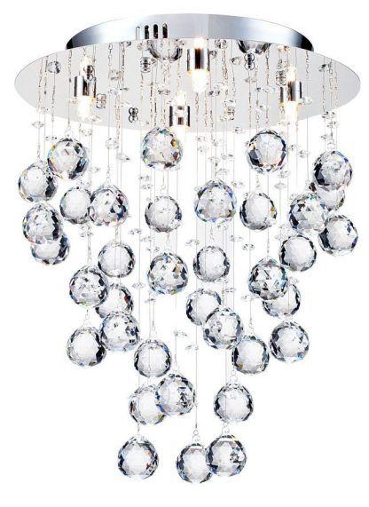 piękna lampa sufitowa ze szlifowanymi kryształowymi kulami