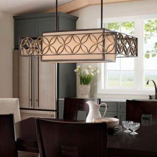 piękna lampa wiszaca prostokątna brązowa - do ciemnych mebli