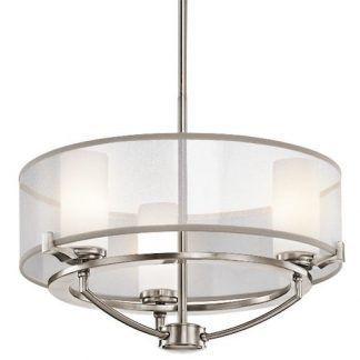 piękna lampa wisząca z okrągłymi kloszami ze szkła i żarówkami