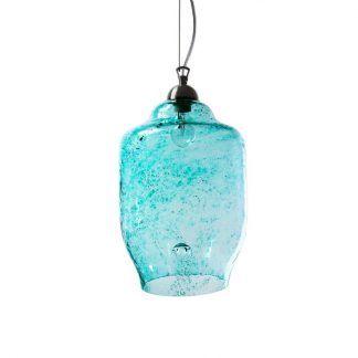 piękna niebieska lampa wisząca z przebarwieniami i kroplami