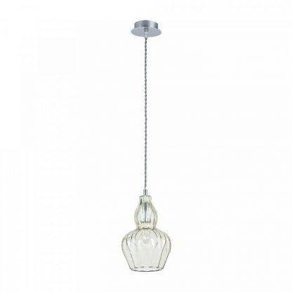 piękna szklana lampa wiszaca - klosz rzeźbiony
