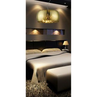 piękna złota lampa w sypialni - aranżacja nowoczesna