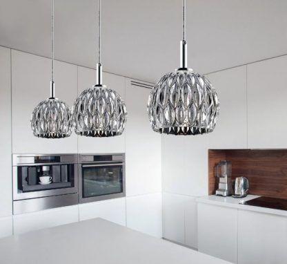 piękne szklane klosze duże do nad stół i wyspę - aranżacja kuchni