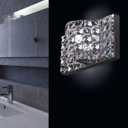 piękny kinkiet glamour do łazienki z kwadracików