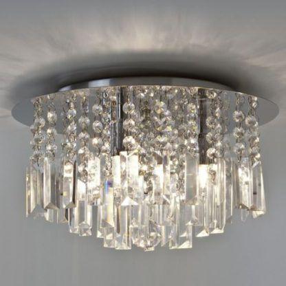 piękny plafon kryształowy ze srebrnymi wykończeniami
