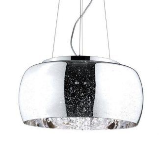 piękny szklany klosz z kryształami glamour - lampa wisząca