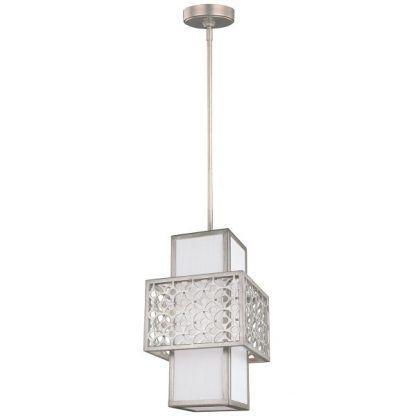 pionowa lampa wisząca z białym abażurem