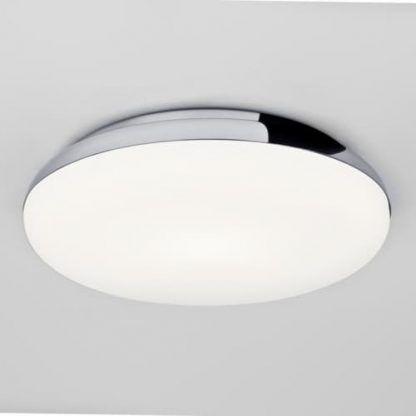 plafon do łazienki płaski okrągły - biały i srebrny