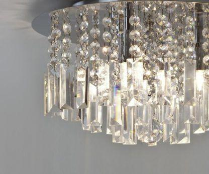 plafon z kryształami - lampa sufitowa srebrna