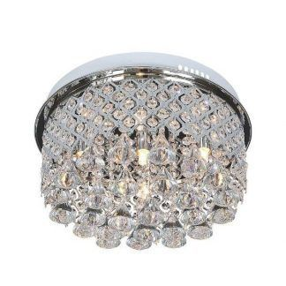 Plafon z kryształkami w srebrnej oprawie do sypialni