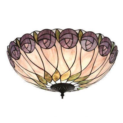 plafon ze szkła witrażowego fioletowe róże