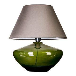 płaska oliwkowa lampa stołowa do sypialni z kremowym kloszem