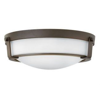 płaski brązowy plafon z białym szkłem - duży hampton