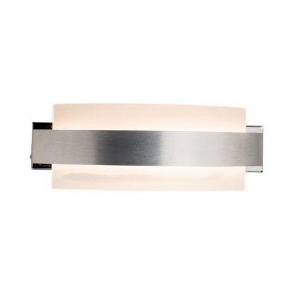płaski kinkiet ze srebrnym paskiem do korytarza