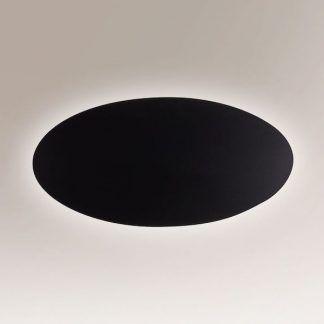 płaski owalny kinkiet czarny dekoracyjny