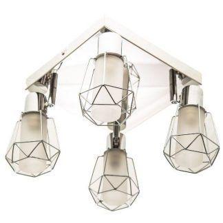 poczwórna lampa sufitowa kwadratowa z 4 żarówkami - druciana