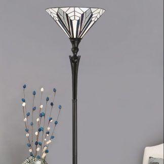 podłogowa lampa witrażowa salon odcienie szarości