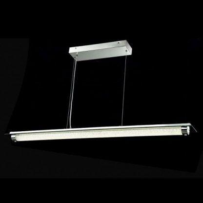 podłużna lampa wisząca na 2 sznurkach stalowych nad stół