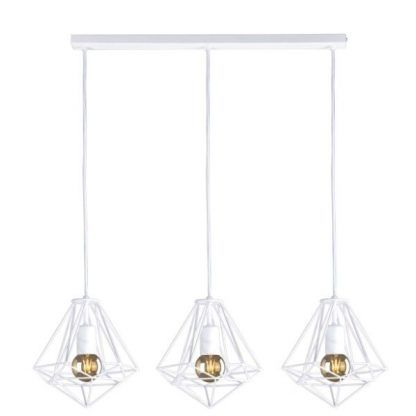 podłużna lampa wisząca nad stół druciane białe klosze