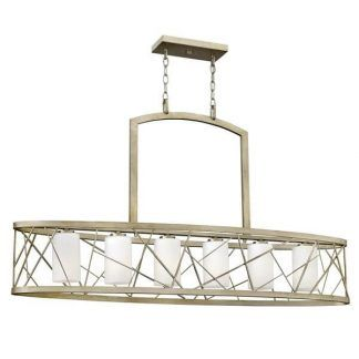 podłużna lampa wisząca nad stół złoto i biel