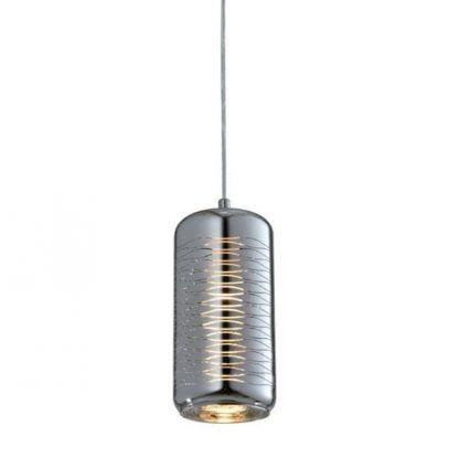 podłużna lampa wisząca srebrna