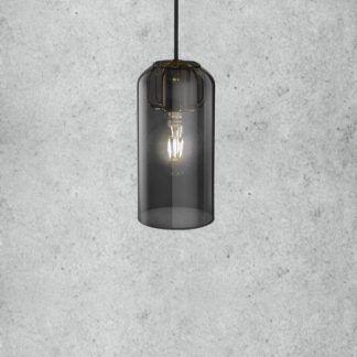 podłużna lampa wisząca z barwionego szkła