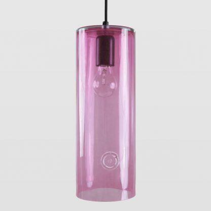 podłużna lampa wisząca z różowego szkła nowoczesna