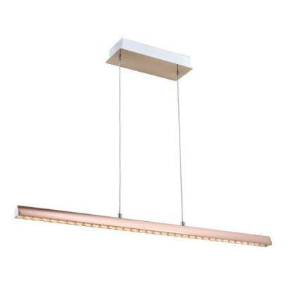 podłużna lampa wisząca z różowego złota