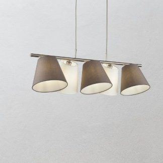podłużna lampa wisząca z szarymi abażurami