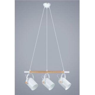 podłużna lampa wisząca z trzema kloszami